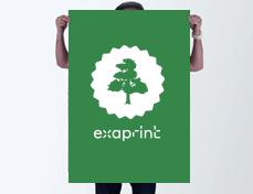 affiche verte exaprint avec logo arbre