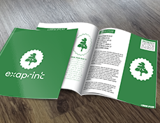 brochure verte exaprint avec logo arbre