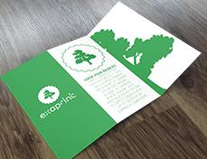 dépliant vert exaprint avec logo arbre